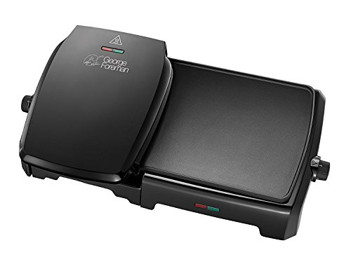 George Foreman 23450 10-Portion Entertaining Grill and Griddle, 2180 W, Black