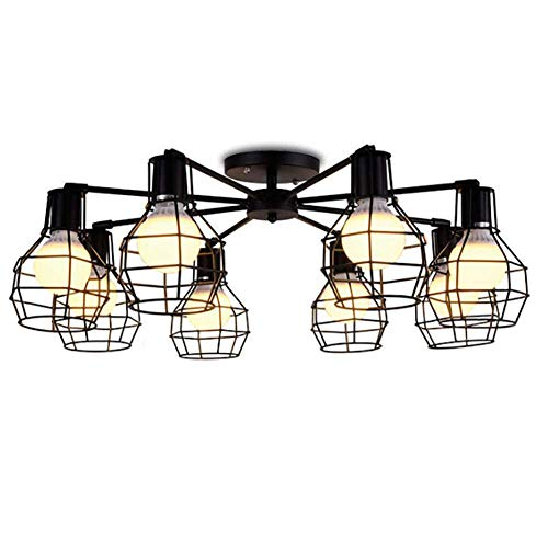 CSDM.AI 8 Lights Modern Ceiling Lights, Retro Wrought Iron Ceiling Lamps Adjustable Lamps for Living Room Bedroom Hallway Dining, Black - Pendant Light Eight Halogen Ceiling