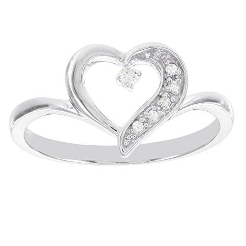 Sterling Silver .04ct Diamond Heart Promise Ring (I-J I1-I2)