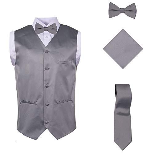 Vittorino Mens 4 Piece Formal Vest Set Combo with Tuxedo Vest Tie Bow Tie and Handkerchief, Grey, XXXX-Large (4X)