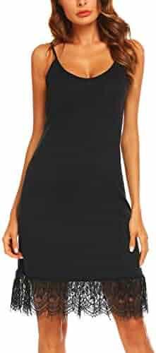 18fbb2c9db16b Zeagoo Women s Lace Trim Ruffle Camisole Slip Top Tank Dress Extender