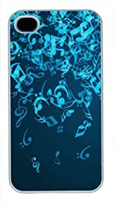 High Quality White Plastic Case for iPhone 4 Generation Back Cover Case for iPhone 4S with Musical Notes