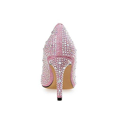 Rhinestones Bal Mariage Strass De De à pink Femmes Talons Pointu Chaussures Hauts Nez 1EqOWpx4w