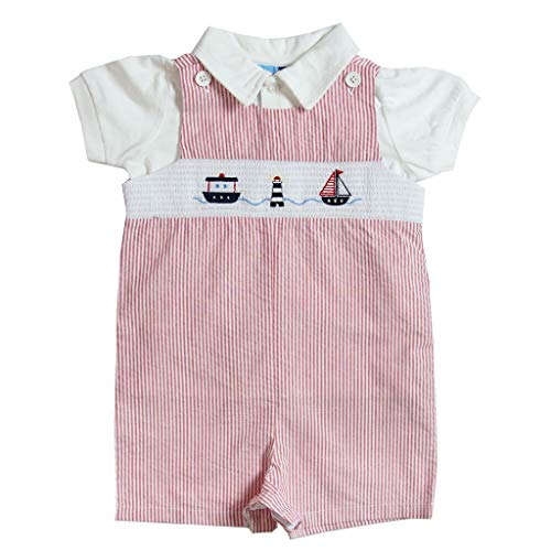 Good Lad Newborn/Infant Boys Red Seersucker Smocked Shortall Set with Nautical Embroidery (3/6M)