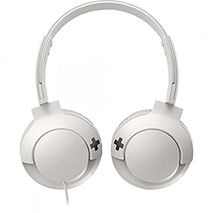 Philips Bass+ SHL3075WT - Auriculares con micrófono (Cable, Bajos potentes, Plegables, Ligeros