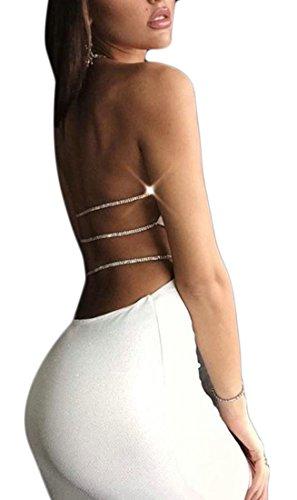 Jaycargogo Femmes Sexy Dos Nu Évider Robe Moulante Licou Blanc