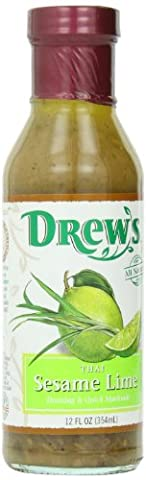Drew's All-Natural Salad Dressing and 10 Minute Marinade, Thai Sesame Lime, 12-Ounce Bottle - Thai Natural