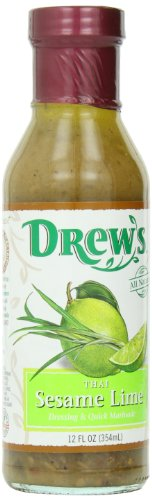 Drew's All-Natural Salad Dressing and 10 Minute Marinade, Thai Sesame Lime, 12-Ounce Bottle by Drew's All Natural