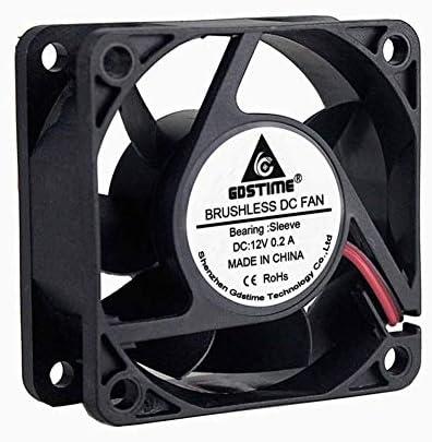 GDSTIME Dc 12V 60mm 6cm 60x60x25mm 2 Wire Brushless Cooling Fan GDT6025S12V2P2.54