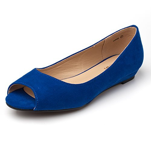 DREAM PAIRS Women's Dories Royal Blue Low Wedge Peep Toe Flats Shoes Size 8 M US (Blue Peep Toe)