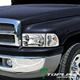 Topline Autopart Chrome Crystal Head Lights+Corner Signal Amber Dy 94-01 Dodge Ram 1500/2500/3500