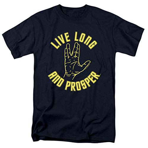 Popfunk Star Trek Live Long & Prosper T Shirt (XX-Large) Navy ()