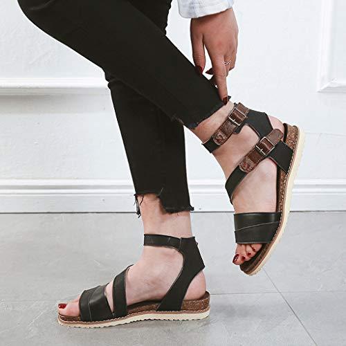 Boucle Plage Croix Black Romain Mode Chaussures Élégant Ceinture Décontracté D'été Dames Yesmile Plat Sandales Femme Plates XqaZZ08
