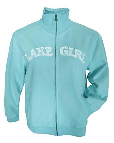 Lakegirl Full Zip Classic Track Jacket sweatshirt, SURF, XL