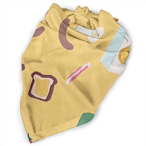 Pet Scarf Dog Bandana Bibs Triangle Head Scarfs Breakfast Time Pattern Accessories for Cats Baby Puppy -