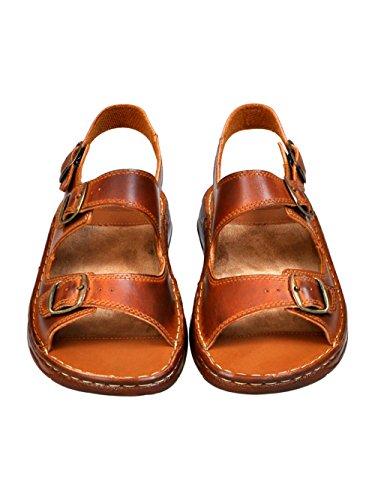 Scarpe Sandali Ortopedici Modello Marrone in Vera Uomo di Confortevoli 816 Pelle Bufalo 7q8UBaqnO