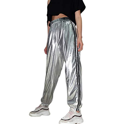 XRDSS Stripe Track Pants Athletic Jogger Hip Hop Elastic Pants Metallic Trousers L