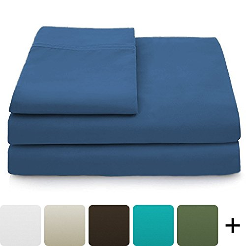 Cosy House Collection Luxury Bamboo Bed Sheet Set - Hypoallergenic Bedding Blend from Natural Bamboo Fiber - Resists Wrinkles - 4 Piece - 1 Fitted Sheet, 1 Flat, 2 Pillowcases - Queen, Royal Blue