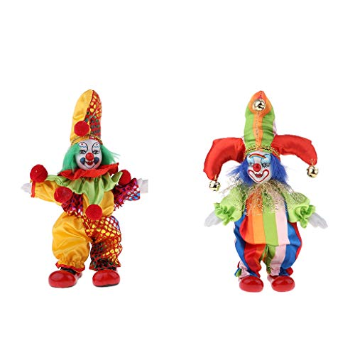 Fenteer 2pcs 6inch Vintage Clown Man in Colorful Clothes Set Figure Standing Doll Home Decor -