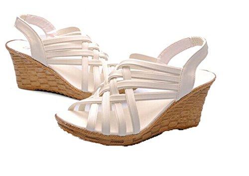 Xiuhong Shop Pendiente de estilo romano con sandalias tejer Sandalias casuales zapatillas blanco