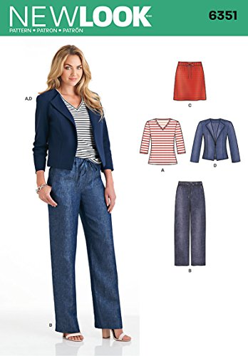 Simplicity Vintage New Look Patterns UN6351A Misses' Jacket, Pants, Skirt and Knit Top, A (10-12-14-16-18-20-22)