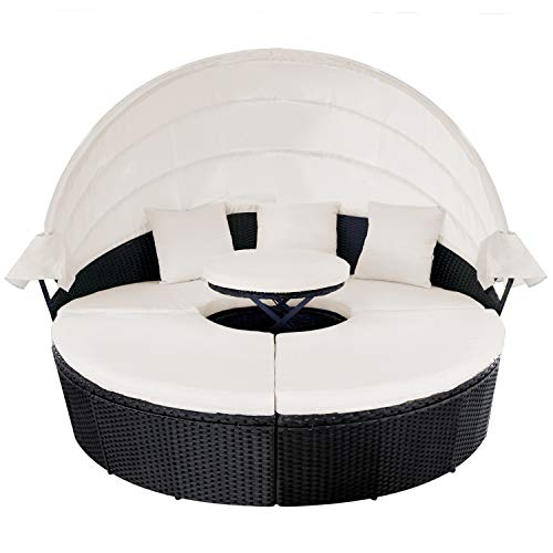 M&W Outdoor Funiture Round Patio Daybed with Retractable Canopy, PE Wicker Rattan Sofa Set with Lift Top Coffee Table for Lawn Garden Backyard Pool