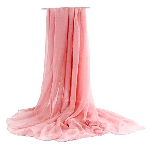 Museya 180*150cm Womens Girls Air Conditioning Sun Block Sunscreen Oversized Long Soft Silk Scarf Shawl Stole Wrap (Pink)
