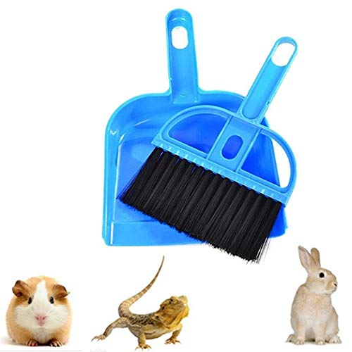 Mini Dustpan Broom Set,Small Animal Cage Cleaner Reptile, Hedgehog,Eopard Gecko Hamsters,Degus,Chinchilla,Guinea Pig,Bunny,Cleaning Tool Set Animal Litter (1 Pack) (Blue)