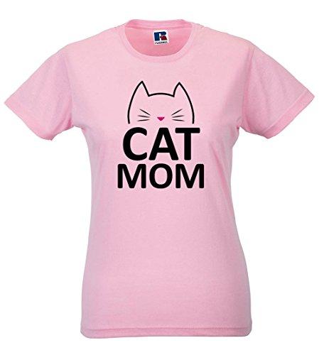 MIMOMA T-Shirt Donna Maglietta Mamma Gatto Cat Mom Idea Regalo Festa della Mamma Rosa