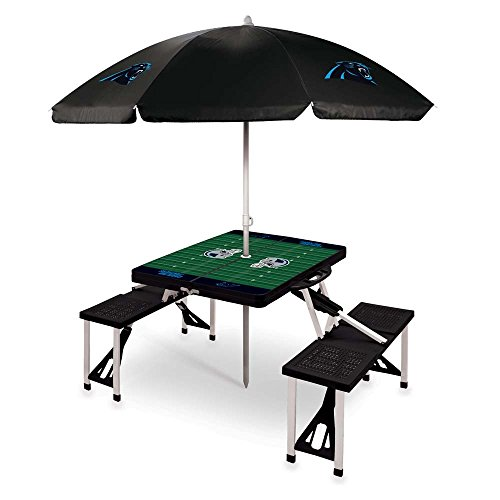 NFL Carolina Panthers Picnic Table Sport with Umbrella Digital Print, One Size, Black by PICNIC TIME