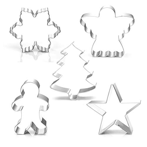 Christmas Holiday Cookie Cutter Set-5 Piece-Snowflake, Star, Christmas Tree, Gingerbread Man and Angel