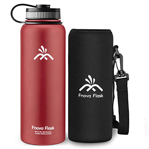 40 oz Stainless Steel Water Bottle, Fnova Flask Insulated Double Walled Vacuum Thermos, Wide Mouth bouns Protective Pouch/Carry Cover, BPA-Free, Cold 24 Hrs / Hot 12 Hrs (RED, 40oz)