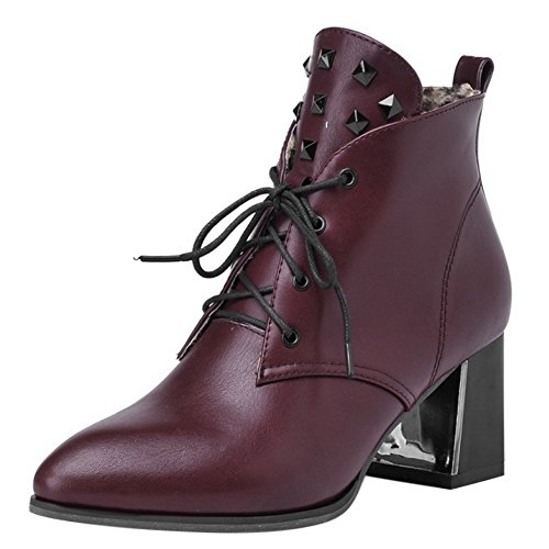 COOLCEPT Mujer Western Cordones Ankle Botas Tacon Ancho with Rivets Wine Red