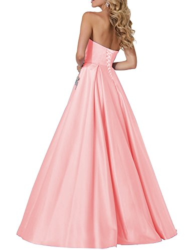 2018 Evening Dresses Plus Size Empire Waist Strapless Bodycon Manual Beaded Formal Gowns With Pockets Full Length Elegant Sweetheart Prom Dress YP813 Pink Size 24W
