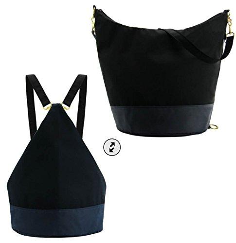 Waterproof Nylon Convertible - Backpack, Purse, Messenger, Sling Bag - Light, Washable, Leather Alternative Earth Leather Diaper Bag