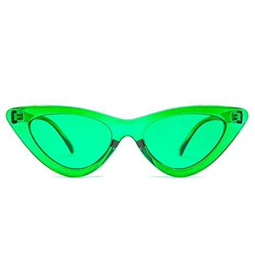 GloFX Cat Eye Sunglasses - Green - Retro Vintage Mod Fashion Colored Lens UV Protection Glasses