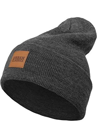 Urban Classics Unisex Knitted Cap Leather Patch Long Beanie 34f7f4d22f9