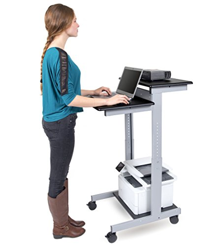 24'' Shelves Adjustable Mobile Stand up Workstation (Black Shelves/Silver Frame) by Stand Up Desk Store