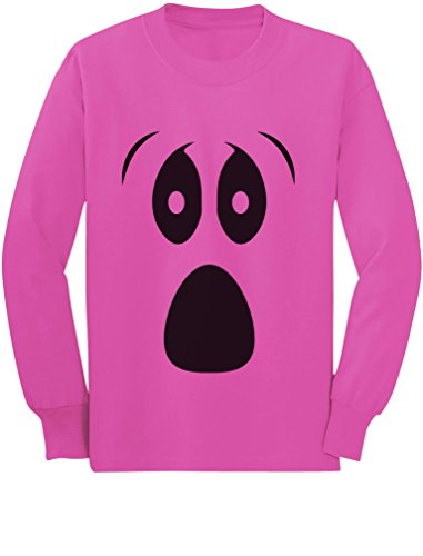 Halloween Ghost Costume Funny Ghoul Face Toddler/Kids Long Sleeve T-Shirt 3T Pink