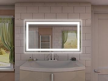 Badspiegel mit Beleuchtung Portau M106L4: Design Spiegel für Badezimmer,  beleuchtet mit LED-Licht, modern - Kosmetik-Spiegel Toiletten-Spiegel Bad  ...