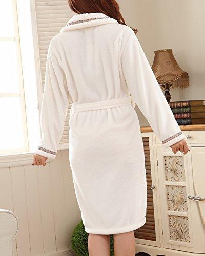 Beige Unisex Cintura con e Abiti Colletto Adulto Vestaglia Donna Tasche Accappatoio Affascinante ArvqA7