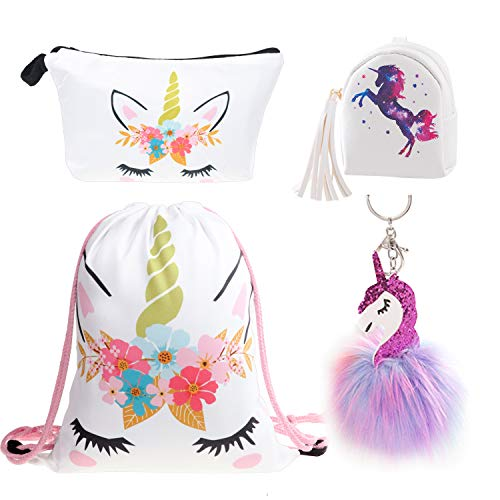 DRESHOW Unicorn Gifts for Girls Unicorn Drawstring Backpack/Make Up Bag/Necklace/Bracelet/Hair Ties/Mini Purse Gift Sets for Party Christmas