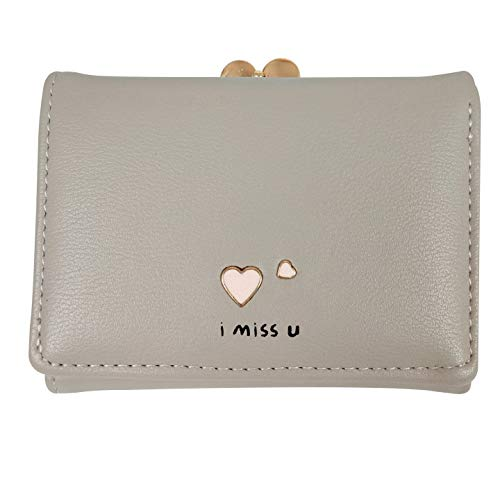 Jastore Girls Womens Small Clutch Leather Purse Cards Holder Wallet (Y-Grey)