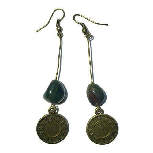 Bloodstone Earrings 27 Steampunk Clock Stone