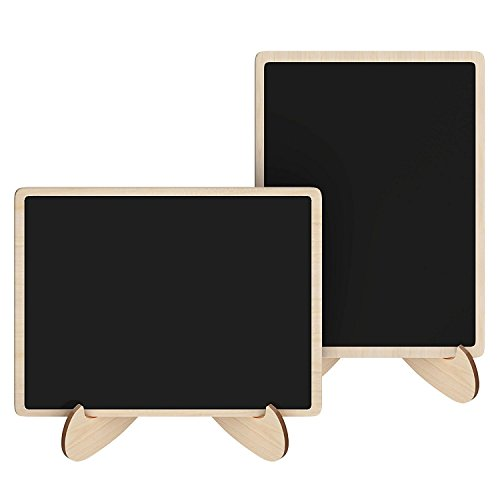 Mini Chalkboards Signs with Easel Stand Wood Blackboard for Message Board Wedding Party Table Numbers, Rectangle Set of 10 Photo #3