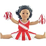 """Doll Clothes Fit American Girl Doll - Red Cheerleader Outfit - 18 Inch Clothing with 18"""" Accessories"""