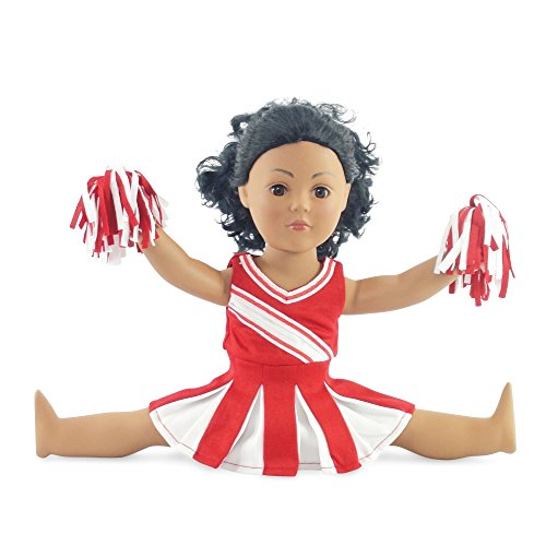 Doll Clothes Fit American Girl Doll - Red Cheerleader Outfit - 18 Inch Clothing with 18