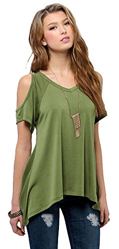 (Women's Vogue Shoulder Off Wide Hem Design Top Shirt (L, Olive Green))