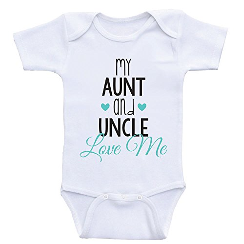 Cute Baby One Piece My Aunt and Uncle Love Me Newborn Baby Clothes (3mo-Short Sleeve, Sea Foam Green Text)