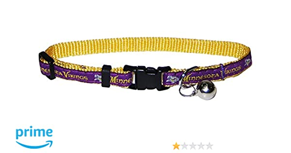 MINNESOTA VIKINGS CAT COLLAR. - Strong   Adjustable FOOTBALL Cat Collars  with Metal Jingle Bell. by Pets First 07f75fd72